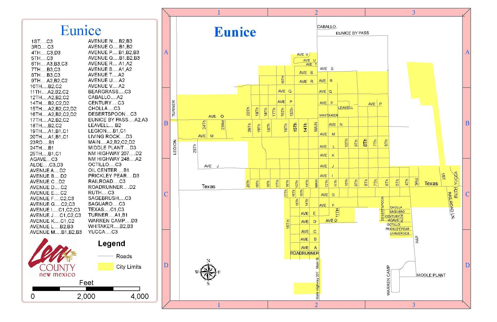 City Map of Eunice